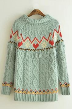 Tassel Decorated Round Neck Long Sleeve Print Pullover Sweater