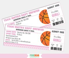 Pink Basketball Baby Shower Invitations by PixieBearParty on Etsy…