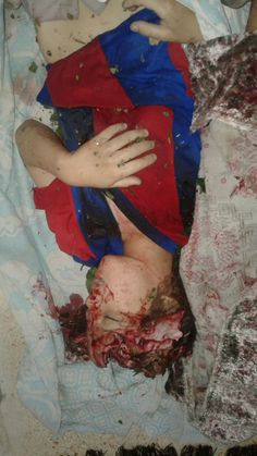 One Syrian kids just now killed by Bashar Assad army and Russian army all family was killed in Darraa city (alharrah town )