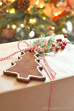brown paper packages tied up with string...with cinnamon ornament!