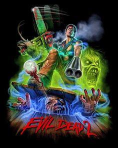 Evil Dead 2 by Devon Whitehead Horror Icons, Horror Movie Posters, Movie Poster Art, Evil Dead Movies, Scary Movies, Horror Movie Characters, Horror Movies, Otaku Anime, Ash Evil Dead