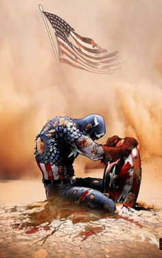 Captain America on 9/11----bravo to the artist!  Very touching...