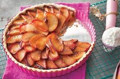 This stone fruit tart is taken to new heights with a layer of pistachio cream, which really is as delicious as it sounds. Recipe here. Vegan Recipes, Cooking Recipes, Tart Recipes, Vegan Meals, Fruit Recipes, A Food, Food And Drink, Pistachio Cream, Stone Fruit
