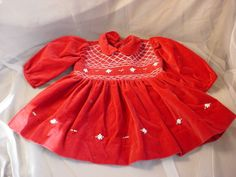 Vtg Carriage Boutiques Girls Red Velvet Dress size 6 M with Smocking Embroidery Seller florasgarden on ebay