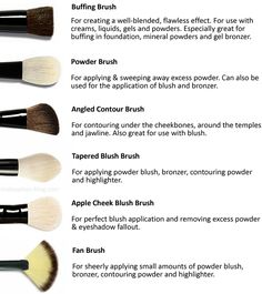 Face brushes: there are thousands of different brushes out there for use with po. - make up - Contouring Face Makeup Tips, Hair And Makeup Tips, Contour Makeup, Makeup Blog, Love Makeup, Makeup Tools, Makeup Brushes, Beauty Makeup, Face Brushes