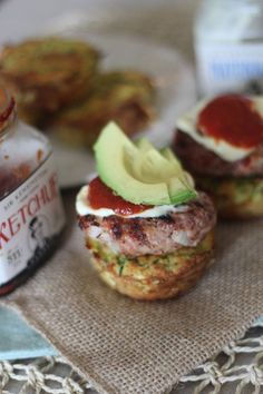 #paleo PaleOMG Grilled Mustard Sliders on Zucchini Fritter Cups