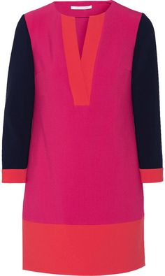 Diane von Furstenberg Millie color-block stretch-crepe mini dress