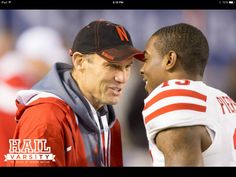 Coach Mike Riley and Nebraska's De'Mornay Pierson-El at the Holiday Bowl in San Diego 2014.