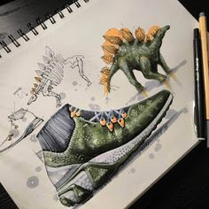Stegosaurus by TiahDesign Sketch Design, Graphic Design Art, Sneakers Sketch, Industrial Design Sketch, Sneaker Art, Sketch Inspiration, Design Inspiration, Sketch Markers, Cool Sketches