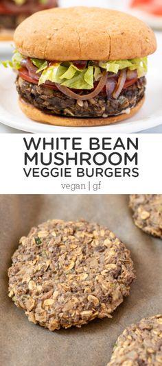 Burger Recipes, Vegetarian Recipes, Healthy Recipes, Mushroom Veggie Burger, Clean Recipes, Clean Foods, Free Recipes, Vege Burgers, Vegan Main Dishes