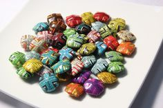 Papellery: Unique and Handmade Paper Bead Jewelry | 10 Assorted Square Paper Beads