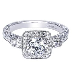 Gabriel And Company Unique 14K White Diamond Three Stone Halo Princess Square Antique Vintage Engagement Ring Split band shank on Etsy, $3,844.00   I love this wedding ring!!!