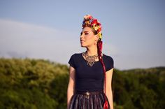 "Handmade slavic flower crown by me. Called in Slovak language ""parta"".   #slavic #parta #flowercrown #bycajova #folk #blanciar #headdress #cajova #ethnic #handmade #beckov #slovakia"