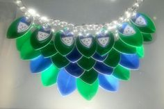 November 3rd: green and blue aluminum scales necklace