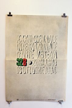 XXXII Biennale 1964 poster. Designed by Massimo Vignelli  I really love old Vignelli pieces and this is my favorite. Surprisingly inventive considering how rigid his work has been (basically giving the same 2 or 3 designs to every client for the last 4 decades).—Namdev
