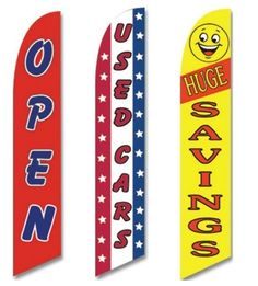 Pack of 3 Certified pre owned,walk in drive out Open King Swooper Feather Flag Sign Kit With Pole and Ground Spike
