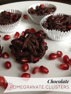 Chocolate Pomegranate Clusters. Instead of paying the hefty price for the Brookside brand chocolate covered pomegranate in the store, try making these!