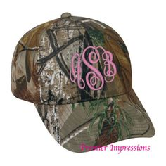 CAMO HAT for Women, Realtree Camo Hat Monogrammed with your name or Initials. Great running cap or knock-around cap. ($18) found on Polyvore
