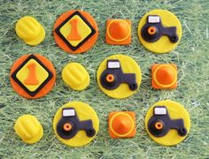 Cupcake Fondant Topper - Construction Tractor-Themed Fondant Cupcake Toppers - Perfect for Cupcakes, Cookies and Other Edibles by Les Pop Sweets on Gourmly