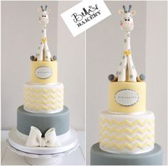 Giraffe baby shower cake Bella's Bakery