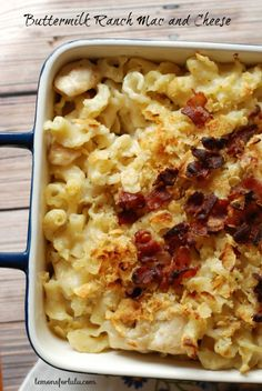 A creamy baked pasta with lots tangy buttermilk ranch flavor! www.lemonsforlulu.com