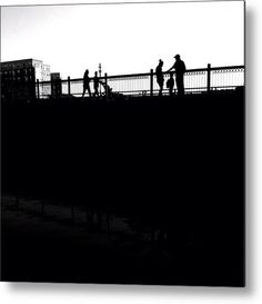 People On Bridge Metal Print By Heather Classen