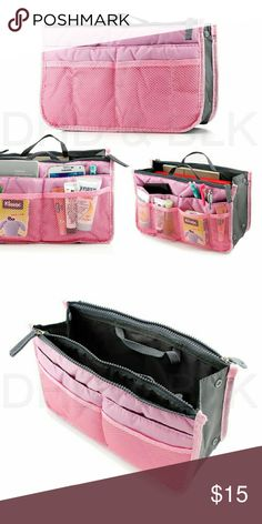 Travel insert handbag organiser Feature: 13 compartments/pouches w/ two (2) zippers Built-in handles Made of durable and premium quality nylon 100% brand new, 3rd party product Dimension:11X6.5X3.5inch Bags Travel Bags