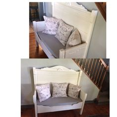 antique bed becomes a Deacon's Bench Antique Headboard, Antique Beds, Deacons Bench, Repurposed Furniture, Love Seat, Couch, Antiques, Home Decor, Antiquities