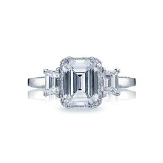 : Tacori Dantela Emerald-Cut Diamond Three-Stone Setting Engagement Ring ($7,570) emeraldcut diamond, diamond threeston