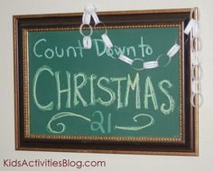 Today we are counting down to Christmas with our DIY chalkboard & Christmas Activities Printable