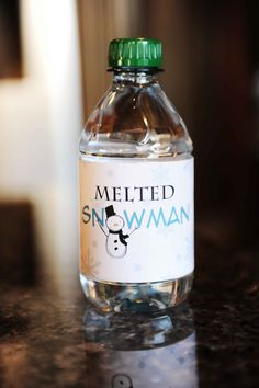 Melted snowman printable for waterbottle