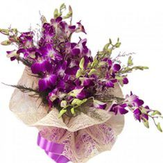 Stunning Purple Orchid Flower Bouquet 10 purple orchids wrapped in cellophane and tied in fancy . Line Flower, Buy Gifts Online, Purple Orchids, Gift Hampers, Unusual Gifts, Flower Making, First Love, Floral Wreath, Fancy