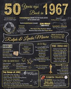 1967 - 50th Anniversary Chalkboard Sign Poster - Our personalized chalkboard anniversary sign is filled with facts, events, and fun tidbits from 1967. Its a super fun keepsake and makes a truly special gift or party decoration. Simply print and use as is, or put in a frame.  ****INTRODUCTORY PRICE for a very limited time - regular price will be $20 *****  You will receive a printable file via email, no physical items will be shipped. You will be responsible for the printing of your item.  ★…
