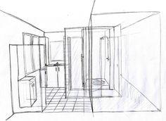 Aménagement d'une salle de bain et de toilettes - Esquisse du projet