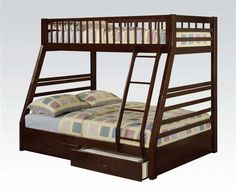 Jason Casual Espresso Wood Twin/Full Bunk Bed W/2 Drawers