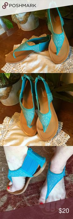 ‼️REDUCED‼️Turquoise Bling Thong Sandals! Oh so Cute! These thong style sandals feature zipper back, bling embellishment & elastic strapping inner and outer heel area for stretch and comfort!! These have been worn one time! Shoes Sandals