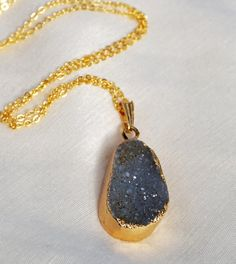 Agate Geode Druzy Necklace on 18k Gold Filled Chain by SuDanDesign