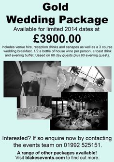 By Blakes GolfClub @blakes_golfclub Gold Package Wedding Offer £3900 http://www.blakesevents.com/