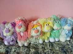 The cuter than cute sherbet hued Fluppy Dogs of the late 80s/early 90s. I had the darling purple one (who was called Cuddled Flup) on the far left when I was little <3 #dogs #toys #plush #cute #Fluppy_Dogs