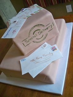 """I know this may look like a bunch of boxes and letters but its actually a cake made for a """"Special Delivery"""" themed baby shower. Too Cute  www.contemporarycakery.com"""