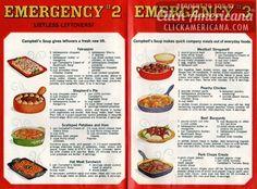 20 recipes from Campbell's emergency dinner cookbook - Click Americana Retro Recipes, Vintage Recipes, Mexican Food Recipes, 1950s Recipes, Victorian Recipes, Group Recipes, Family Recipes, Casserole Recipes, Crockpot Recipes