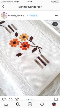 Embroidered Towels, Cross Stitch Embroidery, Cross Stitch Pictures, Punto De Cruz, Dots