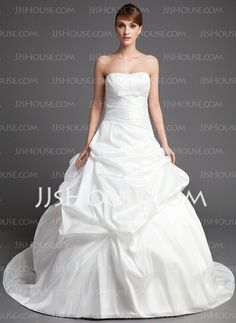 Wedding Dresses - $186.99 - Ball-Gown Sweetheart Chapel Train Taffeta Wedding Dress With Ruffle (002001319) http://jjshouse.com/Ball-Gown-Sweetheart-Chapel-Train-Taffeta-Wedding-Dress-With-Ruffle-002001319-g1319