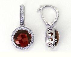 18K White Gold Round Checkerboard Garnet Gemstone and Diamond Earrings