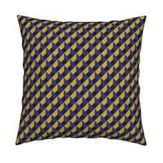 Catalan Throw Pillow featuring OPTICAL ILLUSION LOZENGE MUSTARD PURPLE by paysmage | Roostery Home Decor