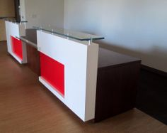 White Lacquer Adornment Panel Reception Desk with back painted Red Glass Inset. Featuring an Oak Desk Shell with Polished Chrome accents
