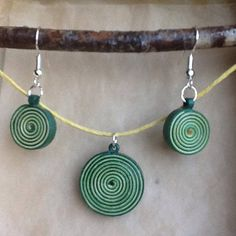 Quilled rolled paper necklace and earrings