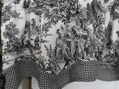 Toile Sale 50  off Toile valances red or black by LaTeDaWindows, $28.00