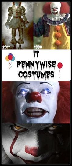 Ready Made and DIY Evil Clown Pennywise It Costumes - 1990 and 2017