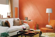 Get a wide range of paints for home from plain finishes interior walls online. Exclusive home painting products for varied requirement of your interior walls by Asian Paints. Interior Color Schemes, Interior Paint Colors, Gray Interior, Interior Walls, Living Room Interior, Interior Design, Interior Painting, Orange Interior, Living Room Paint